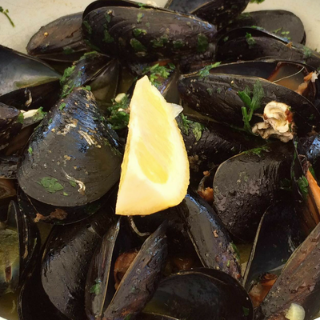 Dish with sautéd mussels